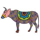 Mucca di scarabocchio del tatuaggio di Mehndi colorata nello stile indiano illustrazione vettoriale