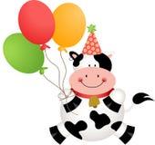 Mucca divertente di compleanno con i palloni Immagine Stock