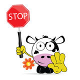 Mucca dolce e sveglia con il vettore di arresto del segno Immagine Stock
