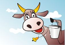 Mucca e latte Fotografia Stock Libera da Diritti