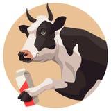 Mucca e latte Immagine Stock
