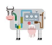 Mucca e latte Infographics che ottiene latte naturale Fasi di pro Fotografia Stock