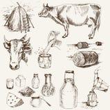 Mucca e prodotti lattiero-caseari Fotografia Stock Libera da Diritti