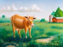 Mucca ed azienda agricola Fotografie Stock