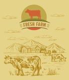 Mucca ed azienda agricola Fotografia Stock Libera da Diritti