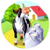 Mucca felice con latte Immagine Stock