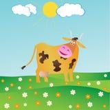 Mucca felice del fumetto con un fiore Fotografia Stock