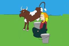 Mucca, latte, ragazza del villaggio Fotografie Stock Libere da Diritti