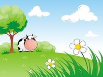 Mucca nel prato illustrazione vettoriale