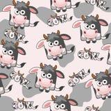 Mucca senza cuciture del fumetto del quadrato del modello Fotografie Stock Libere da Diritti
