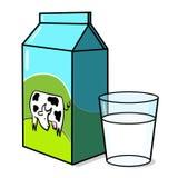 Mucca sulla scatola del latte e su un vetro di latte illustrazione di stock
