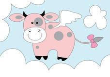 Mucca sveglia di colore rosa di fantasia Fotografia Stock