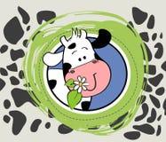 Mucca sveglia e un fiore illustrazione di stock