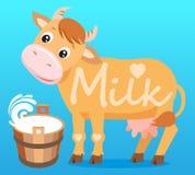 Mucca sveglia Mucca e latte Mucca su un fondo bianco Carattere dell'animale da allevamento Immagine Stock