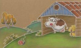 Mucca sveglia nella scuderia Fotografia Stock Libera da Diritti