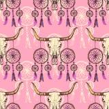 Mucca texana e dreamcather di schizzo illustrazione di stock