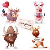 Mucca, toro, cervo - caratteri svegli royalty illustrazione gratis