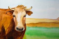 Mucche della pittura dell'acquerello Fotografie Stock