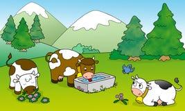 Mucche sveglie, illustrazione per i bambini Fotografia Stock Libera da Diritti