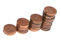 Mucchi crescenti delle monete. immagine stock