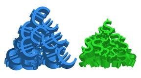 Mucchi del dollaro e dell'euro Fotografia Stock