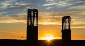 Mucchi del ponte di tramonto Immagini Stock