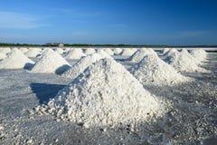 Mucchi del sale in cielo blu di sotto salino Fotografie Stock