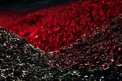 Mucchi della luce del carbone in rosso Fotografie Stock
