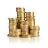 Mucchi delle monete di oro Fotografia Stock Libera da Diritti