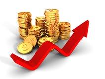 Mucchi delle monete dorate del dollaro con crescere freccia rossa Fotografia Stock