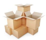 Mucchi delle scatole di cartone Immagini Stock