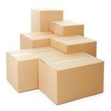 Mucchi delle scatole di cartone Fotografie Stock Libere da Diritti