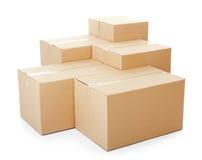 Mucchi delle scatole di cartone Fotografia Stock