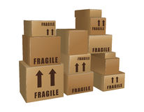 Mucchi delle scatole di cartone Fotografia Stock Libera da Diritti