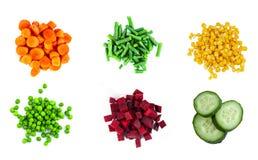 Mucchi delle verdure differenti del taglio Fotografie Stock Libere da Diritti