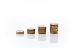 Mucchi di euro monete Immagini Stock