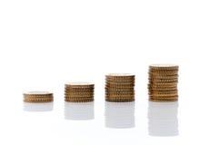 Mucchi di euro monete Immagine Stock