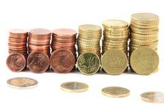 Mucchi di Eurocoins Immagini Stock Libere da Diritti