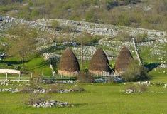 Mucchi di fieno nel paesino di montagna nel Montenegro Fotografia Stock