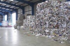 Mucchi di Paperwaste nell'impianto di riciclaggio Immagine Stock