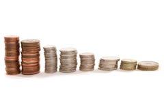 Mucchi di soldi inglesi Fotografie Stock