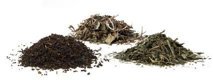 Mucchietti Di tè verde, tè bianco, tè nero Obrazy Royalty Free