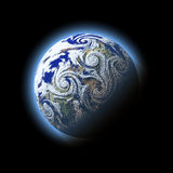 Mucchio astratto di uragano del vento sopra il pianeta blu con atmosfera, Immagine Stock Libera da Diritti
