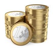 mucchio 3D di euro monete Fotografie Stock Libere da Diritti