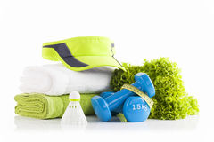 Mucchio degli asciugamani bianchi e verdi con lattuga verde, un PA Fotografia Stock Libera da Diritti