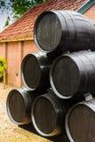 Mucchio dei barilotti di vino di legno Fotografie Stock