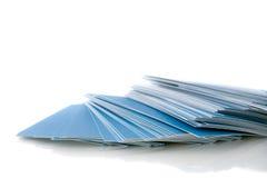 Mucchio dei biglietti da visita blu Fotografie Stock Libere da Diritti