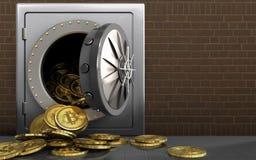 mucchio dei bitcoins 3d sopra i mattoni Immagine Stock Libera da Diritti