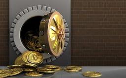 mucchio dei bitcoins 3d sopra i mattoni Immagine Stock