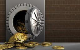 mucchio dei bitcoins 3d sopra i mattoni Fotografia Stock